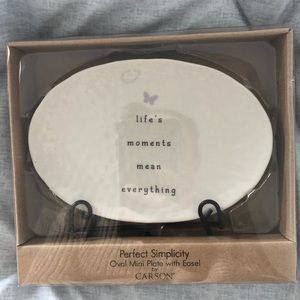Oval plate with ease life moments mean everything